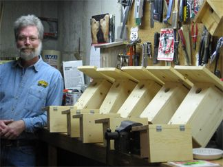 Steve with his nest boxes